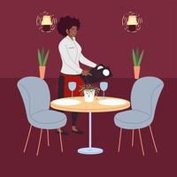 woman waitress in uniform takes an order in a restaurant vector