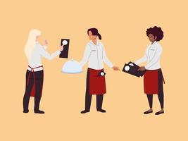women waitresses work in restaurant vector