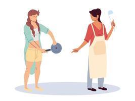 women with kitchen utensils on white background vector