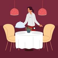 woman waitress with uniform holding tray in a restaurant vector