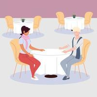 couple of people in the restaurant, romantic dinner vector