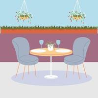 dining table and chairs for two people vector