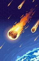 Meteorites Entering Earth Atmosphere vector
