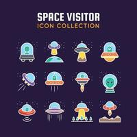 Space Visitor Icons Collection vector