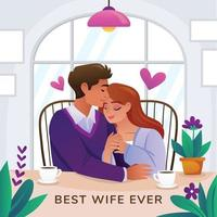Best Wife Ever Card vector