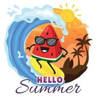 Cute Watermelon Character Surfing on the Beach vector
