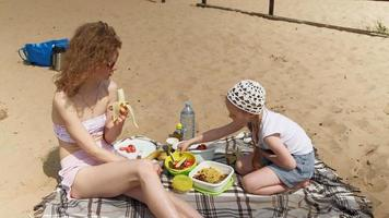 Mother and Daughter Having a Picnic video