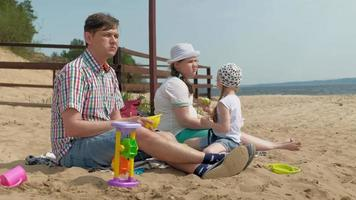 A Man Sitting with His Little Two Girls on The Beach video
