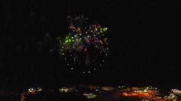 Fireworks over the city Air shooting from the drone video
