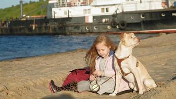 fille fille d'âge préscolaire sur la plage nourrit le chien printemps video