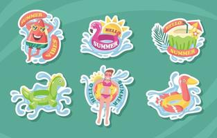 Hello Summer Swimming Sticker Collection vector