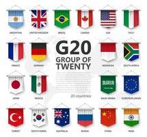 g20. grupo de veinte países y bandera de membresía. asociación internacional de gobierno económico y financiero. Diseño de elemento colgante banderín realista 3d. fondo blanco aislado. vector