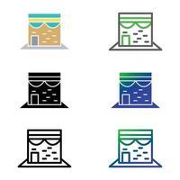 Kaaba icon set vector