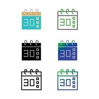 conjunto de iconos de calendario vector