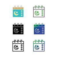 conjunto de iconos de calendario de Ramadán vector