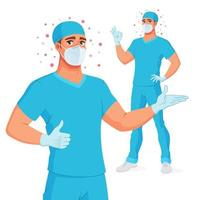 Medical doctor in mask scrubs gloves showing thumbs up and OK vector illustration