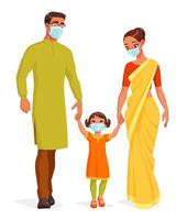 Happy smiling Indian family wearing masks and holding hands vector illustration