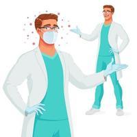 Smiling doctor in medical gown mask gloves presenting vector illustration