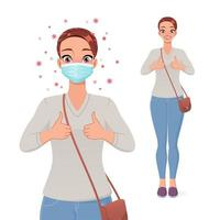 Woman in protective face mask showing thumbs up vector image