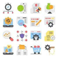 Pack of Mobile Browser Flat Icons vector