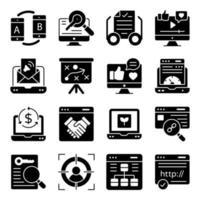 Pack of Online Website Glyph Icons vector