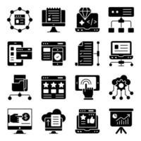 Pack of Seo Glyph Icons vector