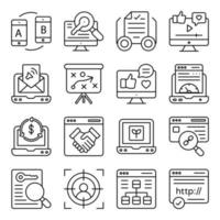 Pack of Online Website Linear Icons vector