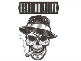 Skull wanted dead or alive vector