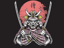 Samurai warrior with red sun vector