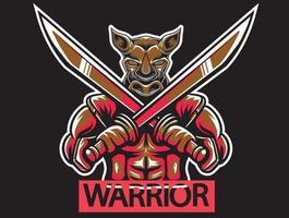 guerrero rinoceronte con espada vector
