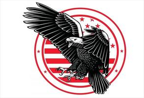 eagle with america flag vector