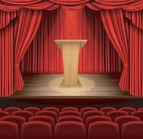 Podium against red curtain backdrop,stand up comedian night show or karaoke party background. Vector EPS 10