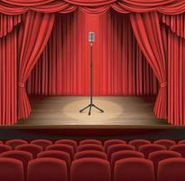 Vintage metal microphone against red curtain backdrop. mic on empty theatre stage, stand up comedian night show or karaoke party background. Vector EPS 10