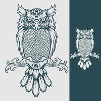 Owl tattoo logo design template vector