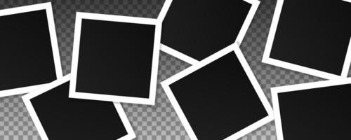Set of square vector photo frames. Collage of realistic frames isolated on transparent background. Template design.
