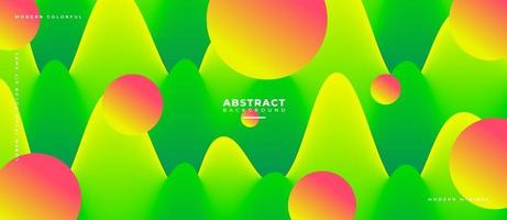 Green and Orange 3D Fluid Wave Shape Abstract Liquid Background. vector