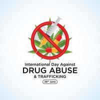 26 de junio día internacional contra el abuso de drogas letras de caligrafía hecha a mano rojo negro tarjeta de fondo de felicitación - vector