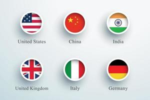 National Flags Round 3d Button Circle Icons Vector Set