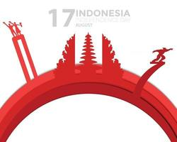 Indonesia Independence Day Papercut Vector