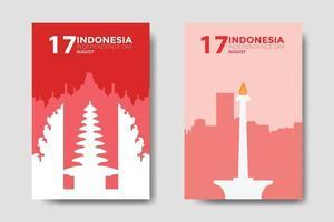 Indonesia Independence Day Landmark Template Flat Design vector