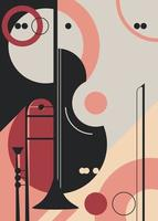 Poster template with trumpet and violin. vector