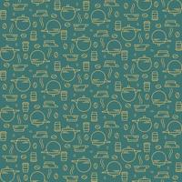 Seamless pattern with coffee beans and utensils. vector
