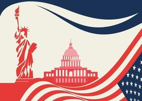 Banner with Statue of Liberty and Capitol. vector