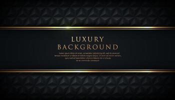 Luxury black stripe with gold border on the dark geometric background. VIP invitation banner. Premium and elegant. vector