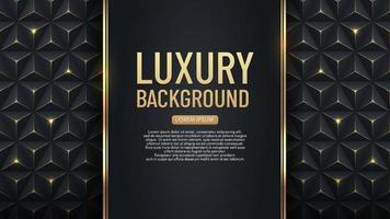 Luxury vertical black stripe with gold border on the dark geometric background. VIP invitation banner. Premium and elegant. vector