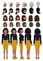 African American business woman cartoon character in casual wear and different hairstyle for animation design vector collection