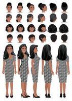 Personaje de dibujos animados de mujer de negocios afroamericana con vestido estampado de leopardo y peinado diferente para la colección de vectores de diseño de animación