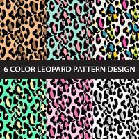 Six color leopard print pattern collection vector