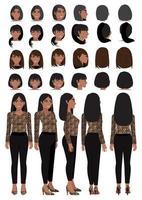 Personaje de dibujos animados de mujer de negocios afroamericana en camisa con estampado de leopardo y peinado diferente para la colección de vectores de diseño de animación