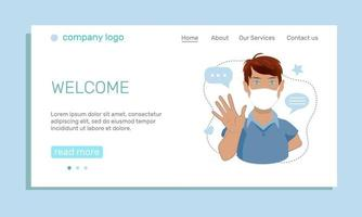 The concept of health safety. A landing page template with a young man in a medical mask waving his hand in greeting. Cartoon vector illustration.